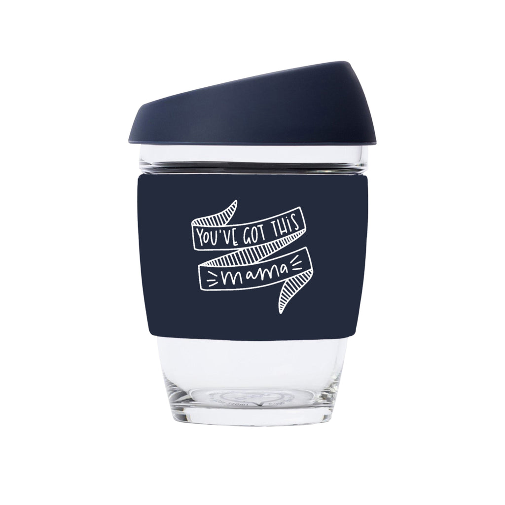 You've Got This Mama JOCO Reusable Glass Travel Cup Mood Indigo