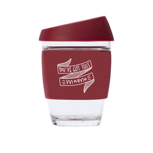 You've Got This Mama JOCO Reusable Glass Travel Cup Ruby Wine
