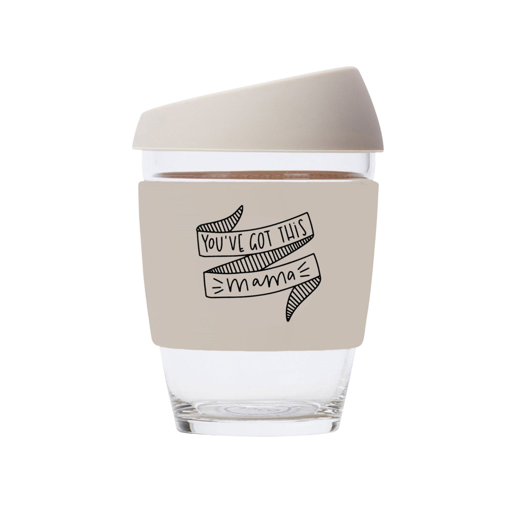 You've Got This Mama JOCO Reusable Glass Travel Cup Sandstone