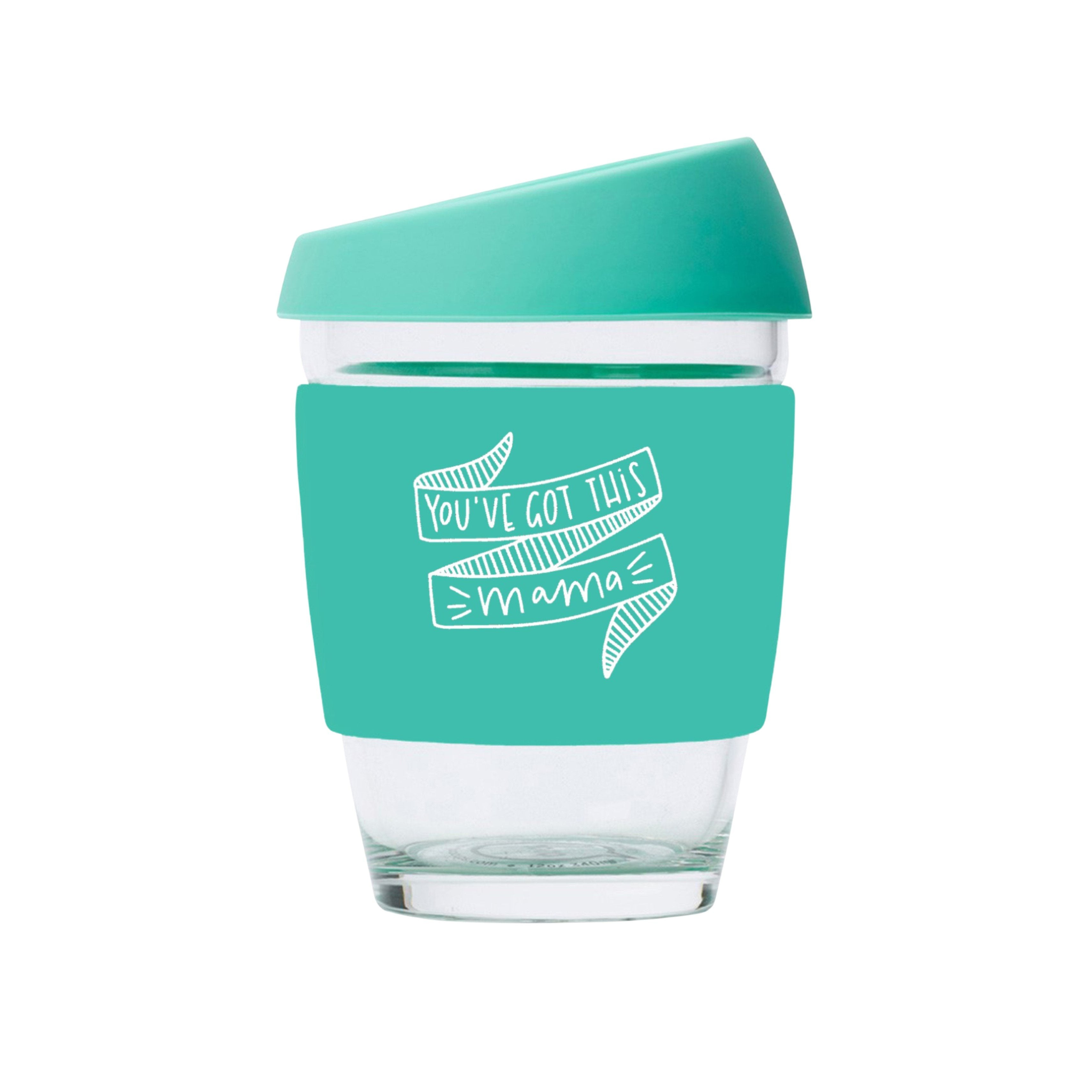 You've Got This Mama JOCO Reusable Glass Travel Cup Vintage Green