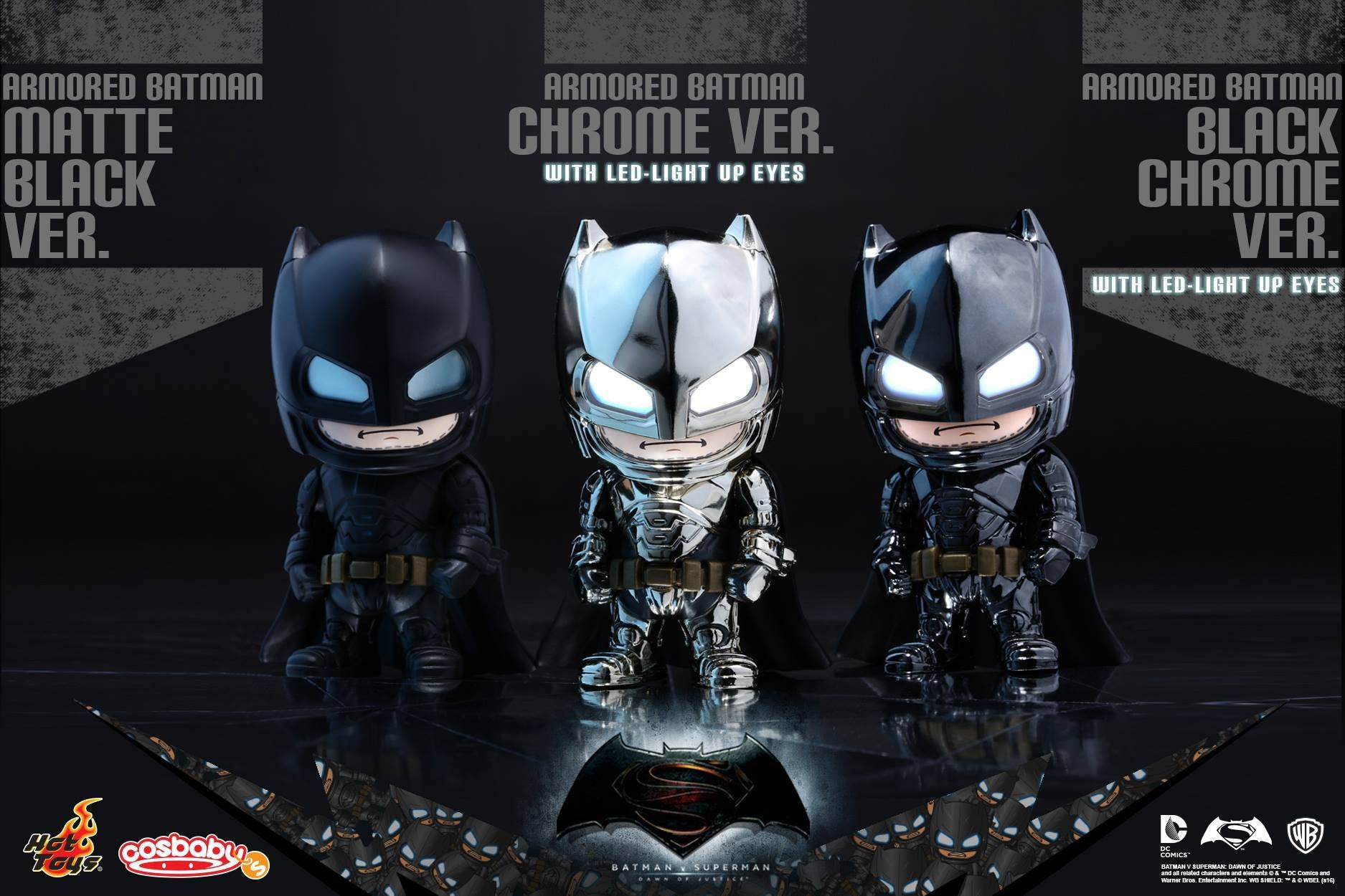 Hot Toys - COSB229-231 - Batman v Superman: Dawn of Justice - Armored Batman (Special Color Versions) Cosbaby (S) Bundle Set - Marvelous Toys - 1