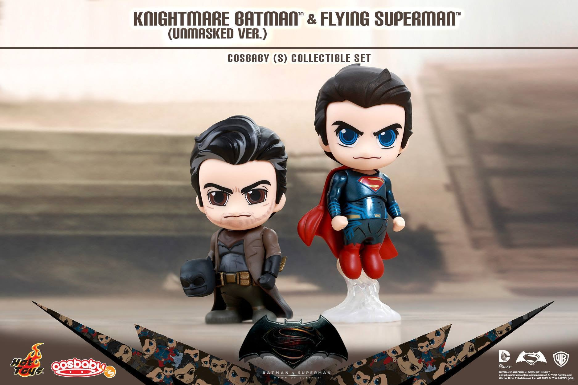 (IN STOCK) Hot Toys - COSB244 - Batman v Superman: Dawn of Justice - Knightmare Batman (Unmasked Version) and Flying Superman Cosbaby (S) Collectible Set - Marvelous Toys - 1