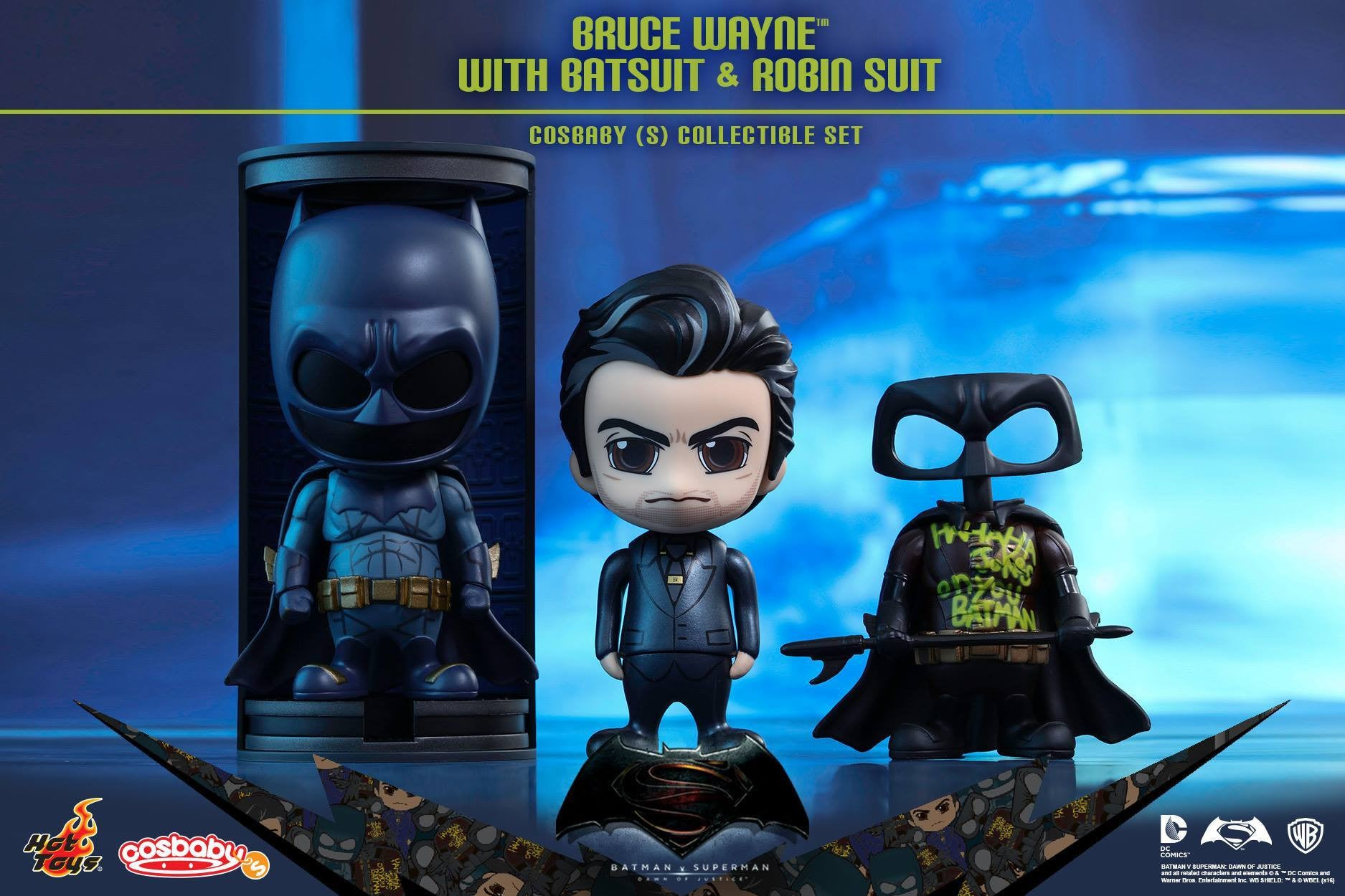 Hot Toys - COSB245 - Batman v Superman Dawn of Justice - Bruce Wayne with Batsuit and Robin Suit Cosbaby (S) Collectible Set - Marvelous Toys - 1