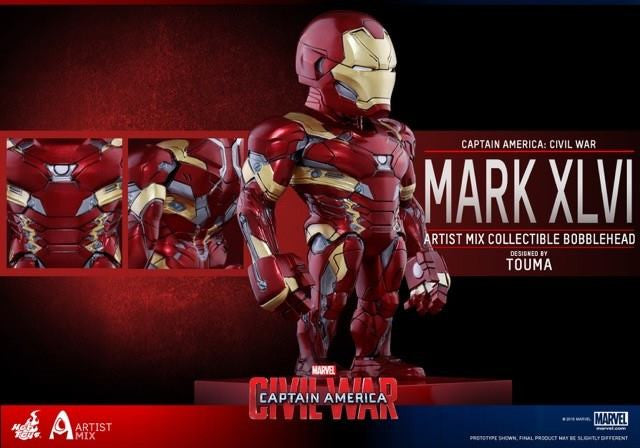 Hot Toys - AMC023 - Captain America: Civil War - Iron Man Mark XLVI Artist Mix Collectible Bobble-Head Designed by TOUMA - Marvelous Toys - 2