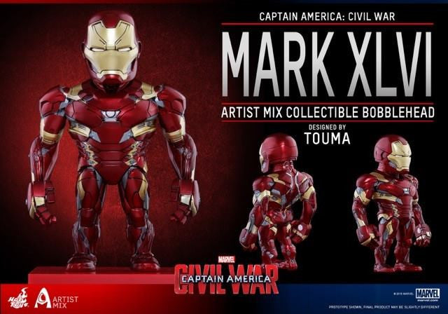 Hot Toys - AMC023 - Captain America: Civil War - Iron Man Mark XLVI Artist Mix Collectible Bobble-Head Designed by TOUMA - Marvelous Toys - 3