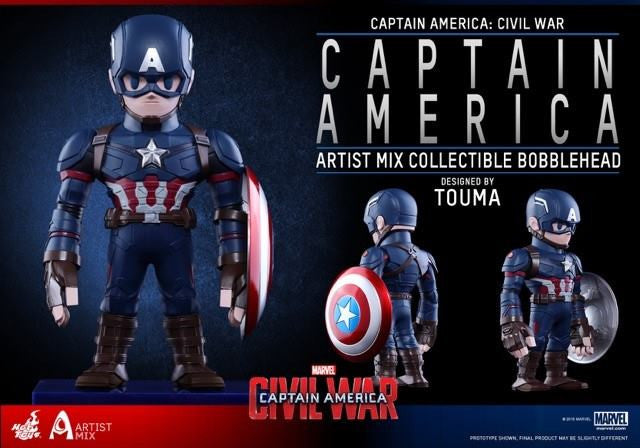 Hot Toys - AMC021 - Captain America: Civil War - Captain America Artist Mix Collectible Bobble-Head Designed by TOUMA - Marvelous Toys - 2