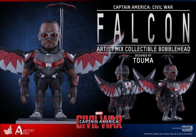 Hot Toys - AMC022 - Captain America: Civil War - Falcon Artist Mix Collectible Bobble-Head Designed by TOUMA - Marvelous Toys - 3