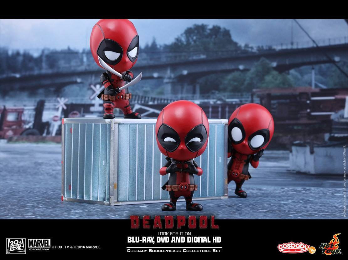 Hot Toys - COSB246 - Deadpool (Surprised, Fighting Pose, Heart Gesturing Versions) Cosbaby Bobble-Head Set - Marvelous Toys - 2
