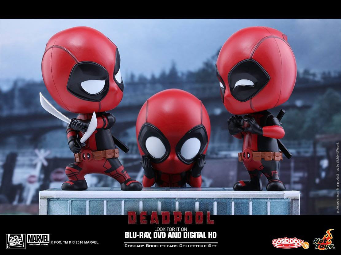 Hot Toys - COSB246 - Deadpool (Surprised, Fighting Pose, Heart Gesturing Versions) Cosbaby Bobble-Head Set - Marvelous Toys - 1