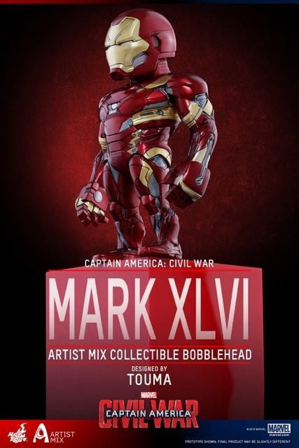 Hot Toys - AMC023 - Captain America: Civil War - Iron Man Mark XLVI Artist Mix Collectible Bobble-Head Designed by TOUMA - Marvelous Toys - 1