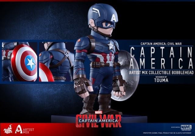 Hot Toys - AMC021 - Captain America: Civil War - Captain America Artist Mix Collectible Bobble-Head Designed by TOUMA - Marvelous Toys - 3