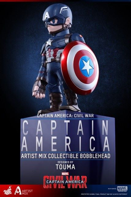 Hot Toys - AMC021 - Captain America: Civil War - Captain America Artist Mix Collectible Bobble-Head Designed by TOUMA - Marvelous Toys - 1