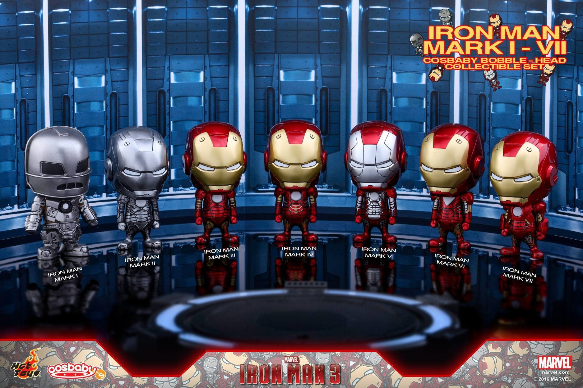 Hot Toys - COSB261-267 - Iron Man 3 - Iron Man Mark I-VII Cosbaby Bobble-Head Series Collectible Set - Marvelous Toys - 1