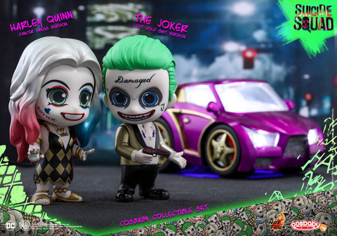Hot Toys – COSB320 – Suicide Squad – The Joker (Light Gold Suit Version) & Harley Quinn (Dancer Dress Version) Cosbaby Collectible Set - Marvelous Toys - 2