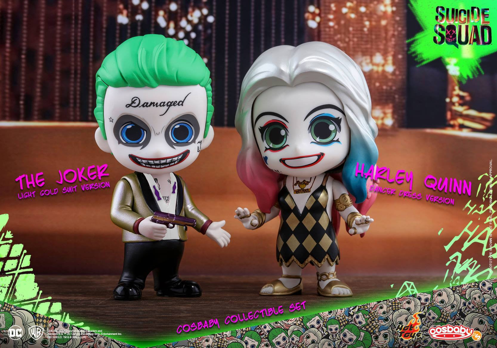 Hot Toys – COSB320 – Suicide Squad – The Joker (Light Gold Suit Version) & Harley Quinn (Dancer Dress Version) Cosbaby Collectible Set - Marvelous Toys - 1