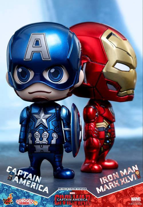 Hot Toys - COSB260 - Captain America: Civil War - Captain America & Mark XLVI (Metallic Color Version) Cosbaby Set - Marvelous Toys - 1