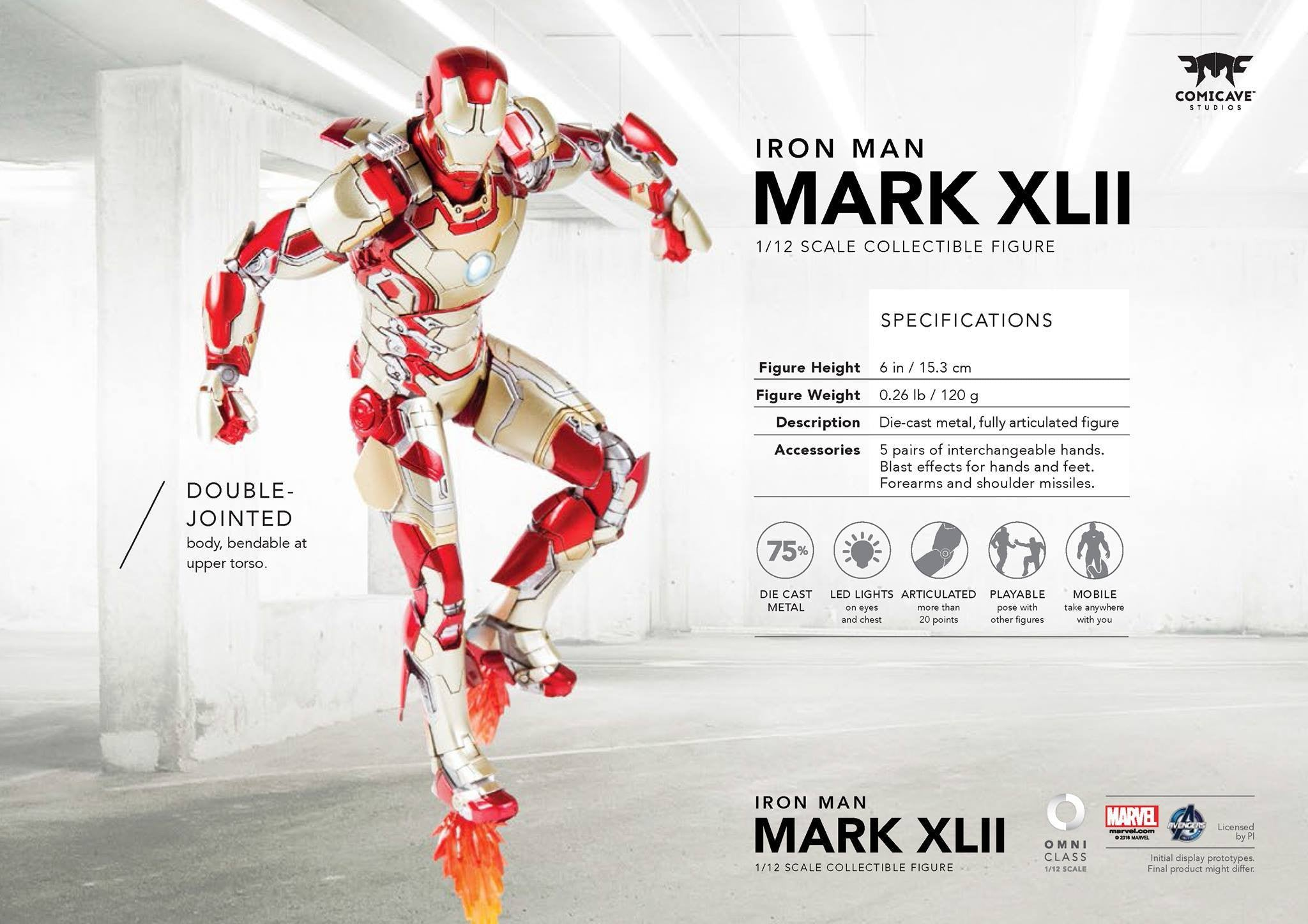 Comicave Studios - Omni Class: 1/12 Scale Iron Man Mark XLII with Sofa (SDCC 2016 EXCLUSIVE) - Marvelous Toys - 6