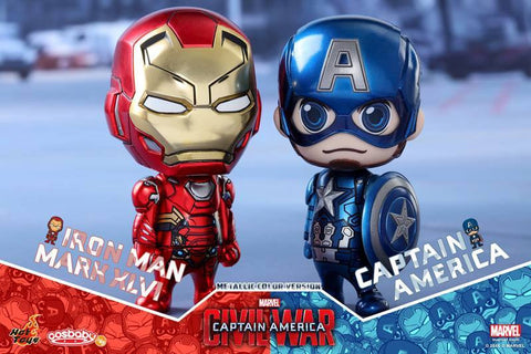 Hot Toys - COSB260 - Captain America: Civil War - Captain America & Mark XLVI (Metallic Color Version) Cosbaby Set - Marvelous Toys - 2