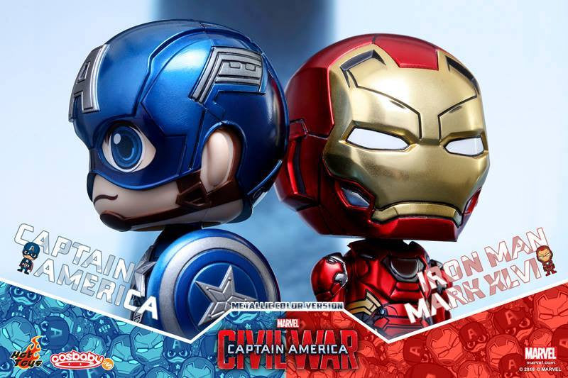 Hot Toys - COSB260 - Captain America: Civil War - Captain America & Mark XLVI (Metallic Color Version) Cosbaby Set - Marvelous Toys - 3