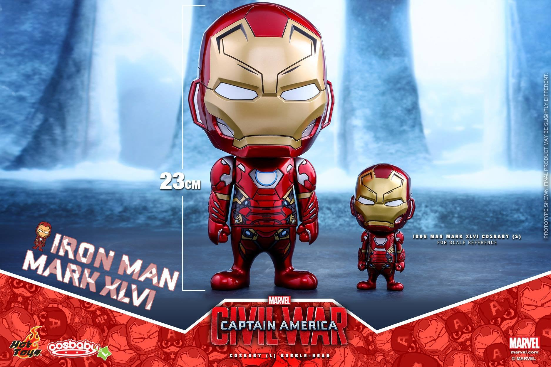 Hot Toys - COSB324 - Captain America: Civil War - Iron Man Mark XLVI Cosbaby (L) Bobble-Head - Marvelous Toys - 1