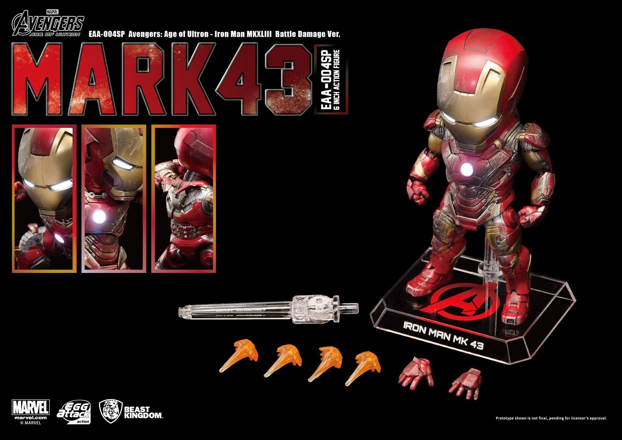 Egg Attack Action - EAA-004SP - Avengers: Age of Ultron - Iron Man Mark 43 (XLIII) (Battle Damage Edition) - Marvelous Toys - 5