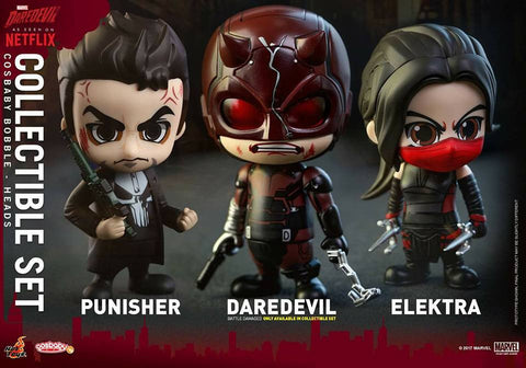 Hot Toys - COSB351 - Marvel's Daredevil - Daredevil, Punisher, and Elektra Cosbaby Bobble-Head (Collectible Set of 3) - Marvelous Toys - 1