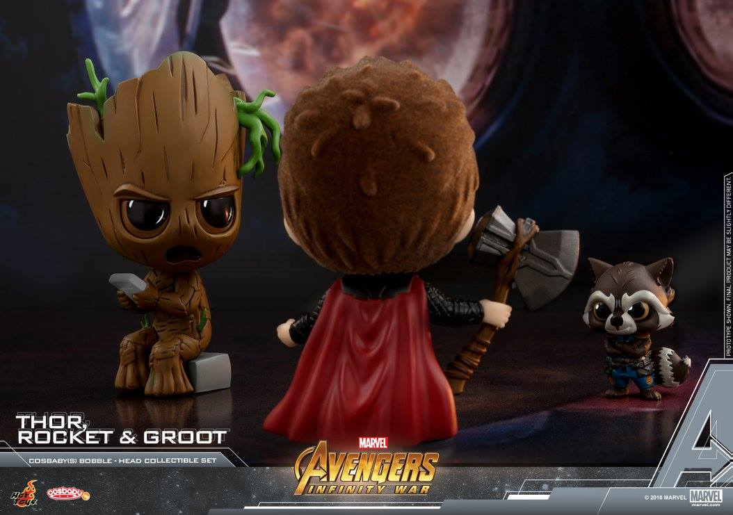 Hot Toys - COSB444 - Avengers: Infinity War - Thor, Rocket, and Groot Cosbaby Bobble-Head Collectible Set