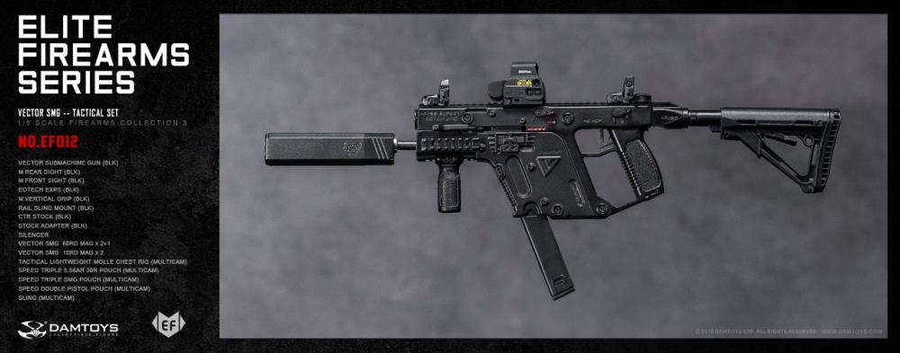 Dam Toys - Elite Firearms Series 3 - 1:6 Vector SMG Tactical Set - EF012 - Black/Camo