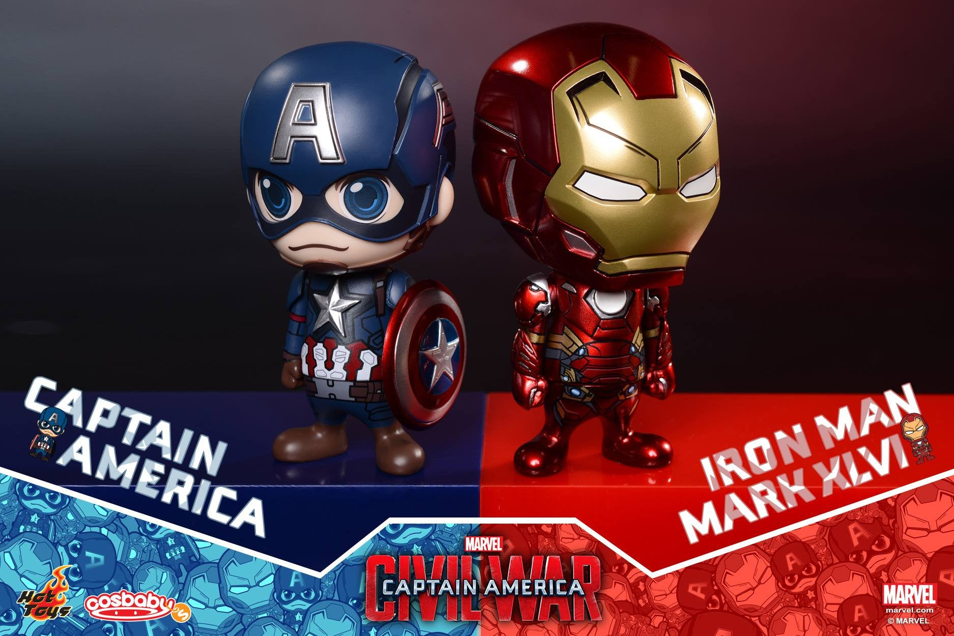 Hot Toys - COSB199-200 - Captain America: Civil War - Captain America & Iron Man Mark XLVI Cosbaby Bobble-Head Set - Marvelous Toys - 1