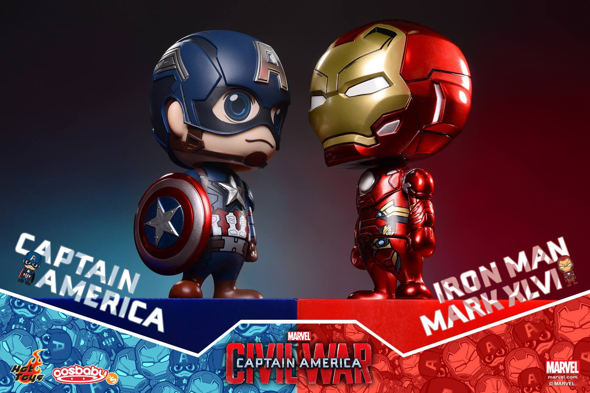 Hot Toys - COSB199-200 - Captain America: Civil War - Captain America & Iron Man Mark XLVI Cosbaby Bobble-Head Set - Marvelous Toys - 2