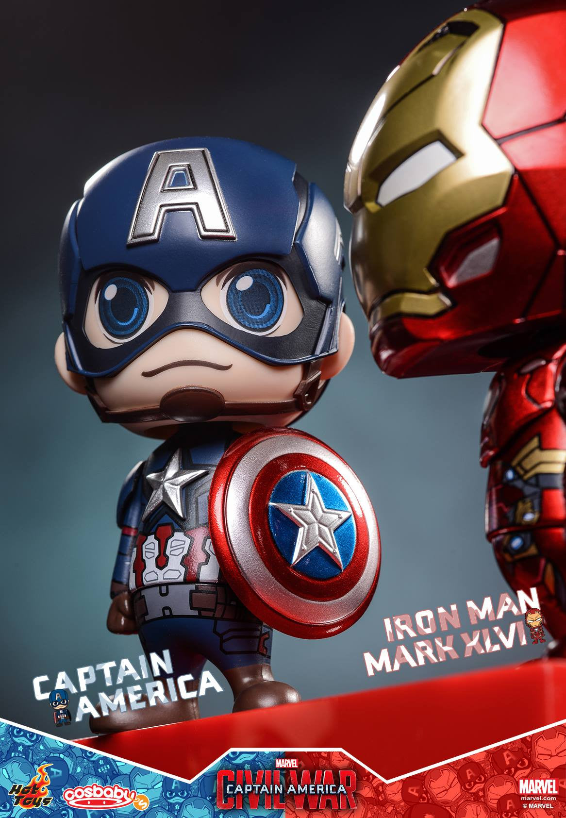 Hot Toys - COSB199-200 - Captain America: Civil War - Captain America & Iron Man Mark XLVI Cosbaby Bobble-Head Set - Marvelous Toys - 4