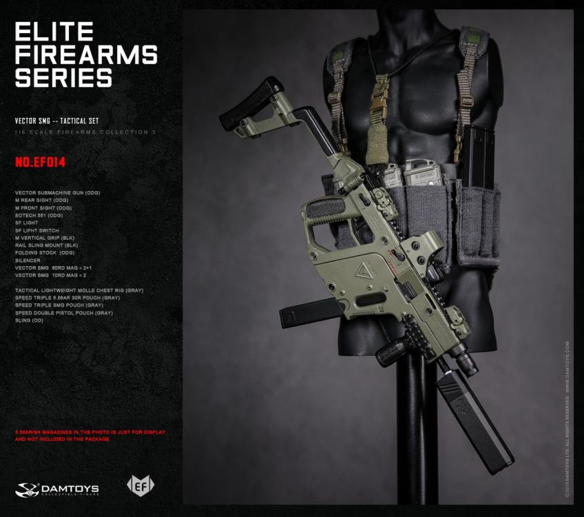 Dam Toys - Elite Firearms Series 3 - 1/6 Vector SMG Tactical Set - EF014 - Olive Green/Grey