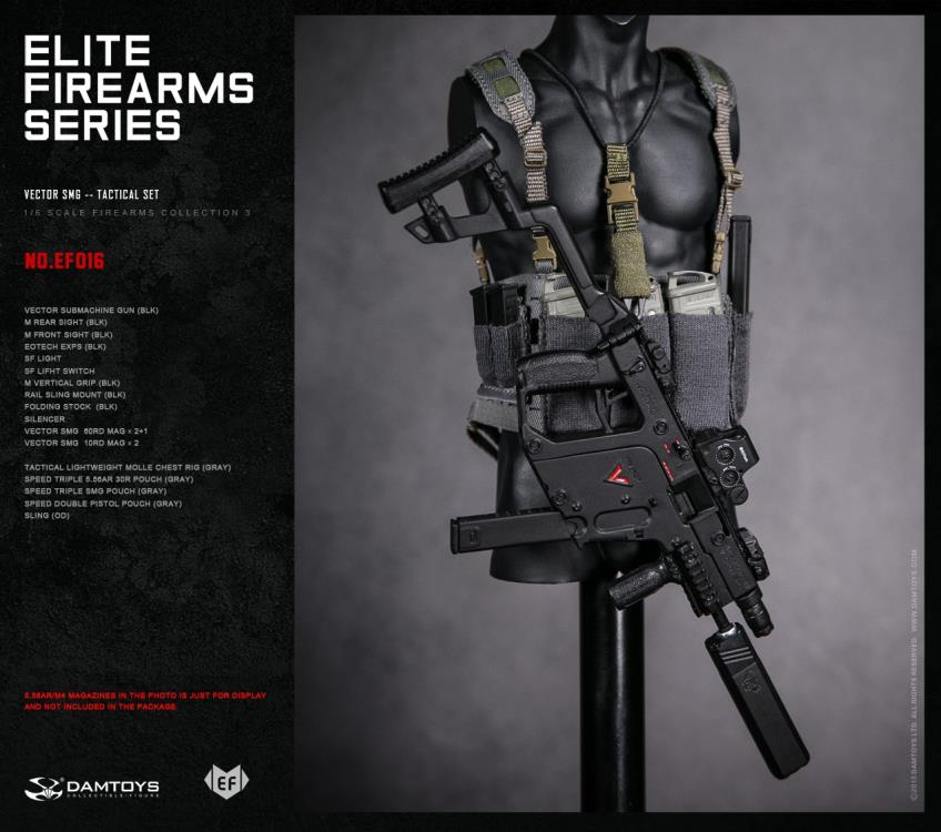 Dam Toys - Elite Firearms Series 3 - 1/6 Vector SMG Tactical Set - EF016 - Black/Grey