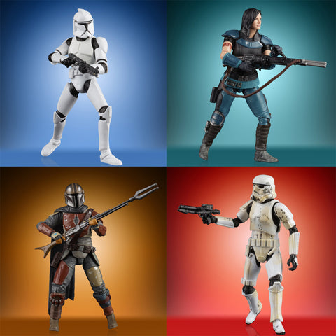 Hasbro - Star Wars: The Vintage Collection - The Mandalorian - Cara Dune, The Mandalorian, Stormtrooper, Clone Trooper (Set of 4)