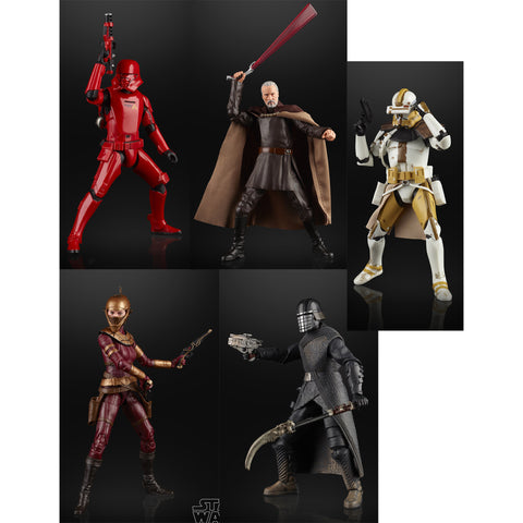 Hasbro - Star Wars: The Black Series - Sith Jet Trooper, Zorii Bliss, Knight of Ren, Count Dooku, Commander Bly (Set of 5)