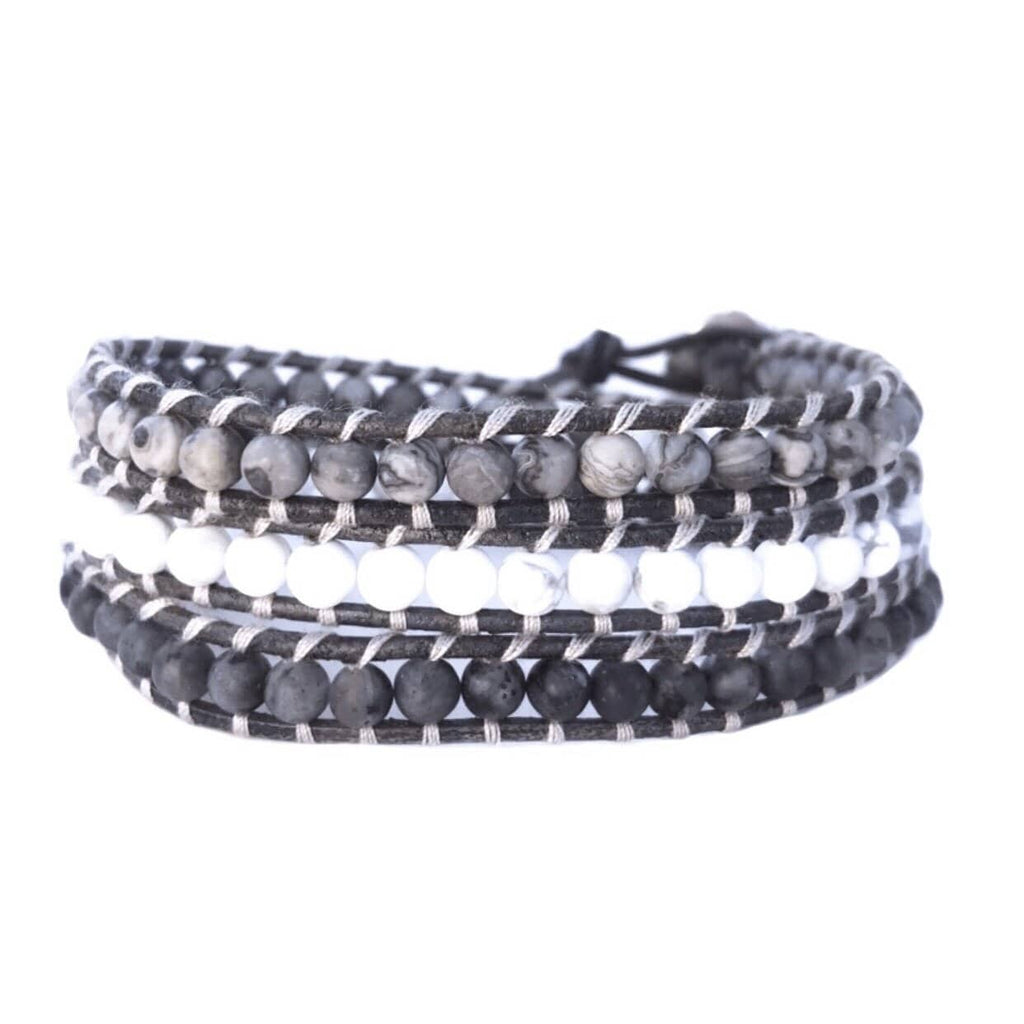 Grey White Stone Healing Bracelet Leather Canada