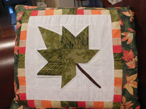 Quillow/Pillow/Lap Quilt/Lap Throw - Autumn Splendor Leaf in Green