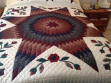 The Lone Star with Flowers Quilt
