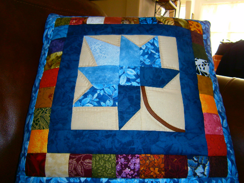 Quillow/lap quilt/ throw - Autumn Splendor Leaf Blue