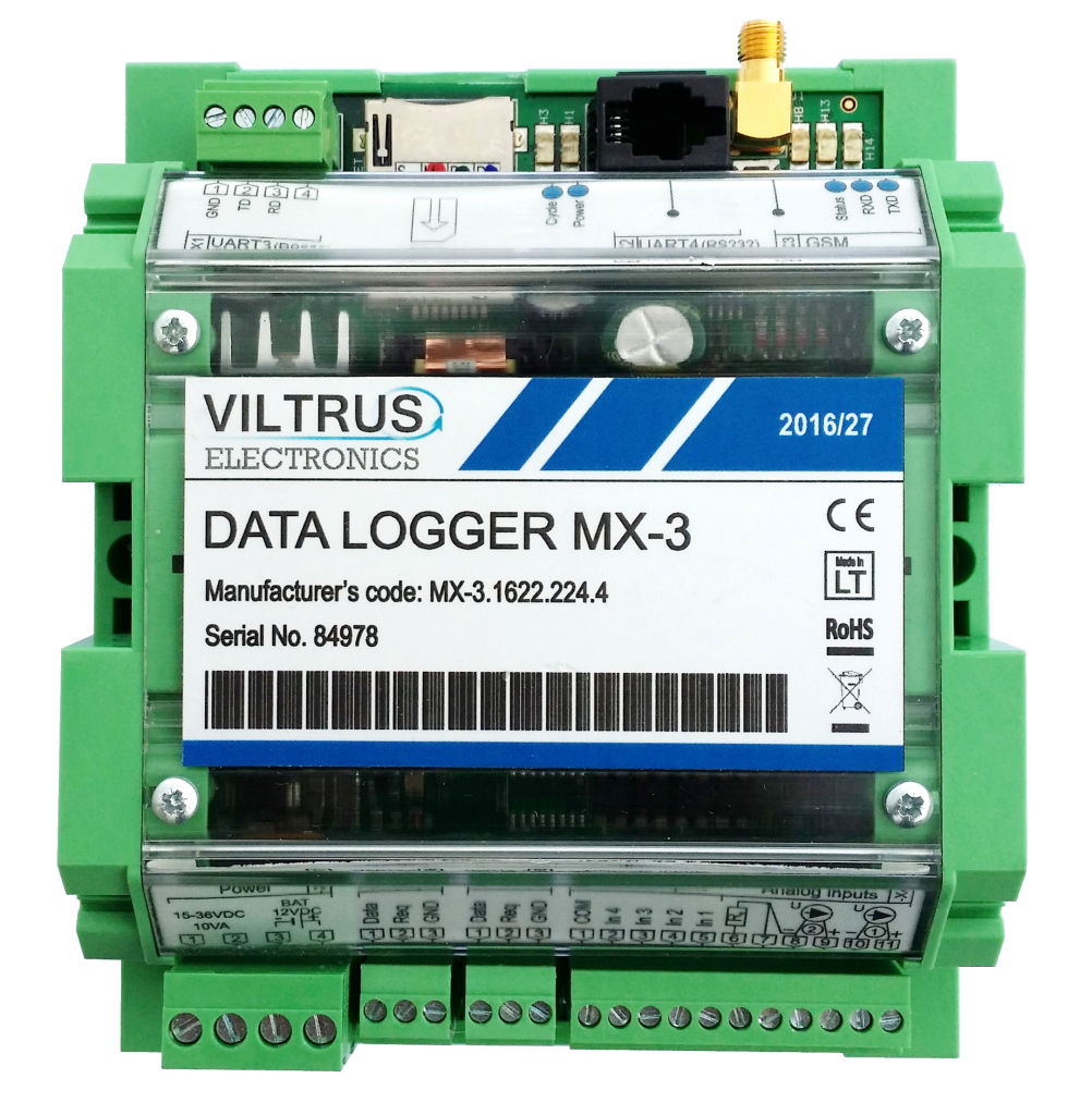 MX-3 Data Logger GPRS + M-Bus + Modbus (RS485) + RS232 + 2 x Analog IN
