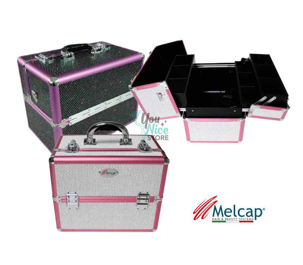 Beauty Case rigido con strass per make up e ricostruzione unghie Melcap