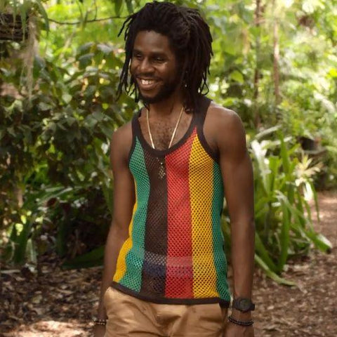 Unisex Fitted Rasta Stripe Cotton String Vest RLW2170