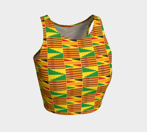 African Kante print athletic crop top RLW2707