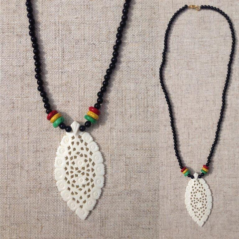 Curved bone marg fligaree Rasta necklace RLW651