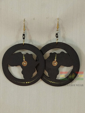ROUND AFRICAN MAP EARRINGS RLW294