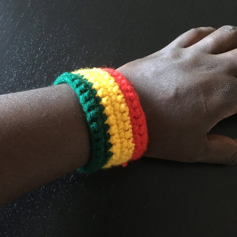 Rasta stripes hand crotched wristband RLW187