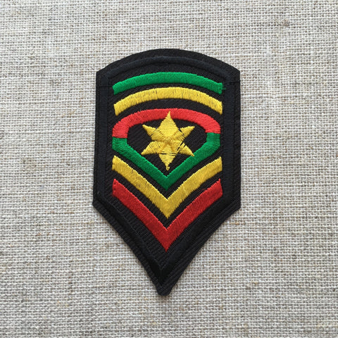 Rasta Army Sergeant Major Embroidered Patch Iron-on or sew on RLW82