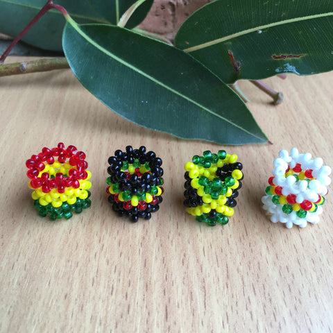 4 mixed Rastafarian/jamaican/reggae Dreadlocks beads 12mm hole RLW320