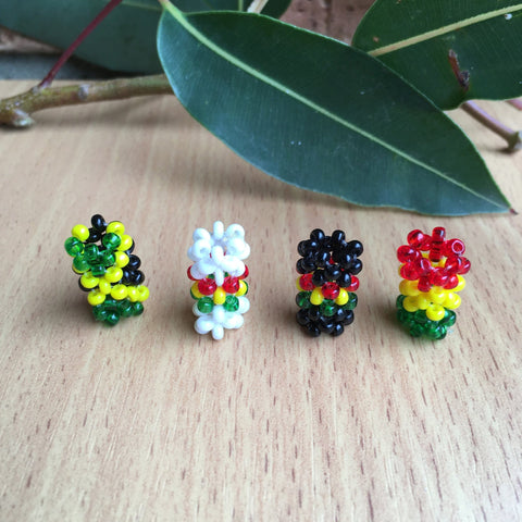 4 mixed Rastafarian/jamaican/reggae Dreadlocks BEAD 4.5mm HOLE HAIR BEADS RLW319