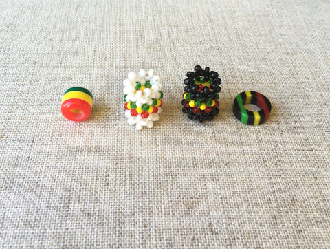 4 mixed Dreadlocks BEAD 8mm/6mm hole RLW625
